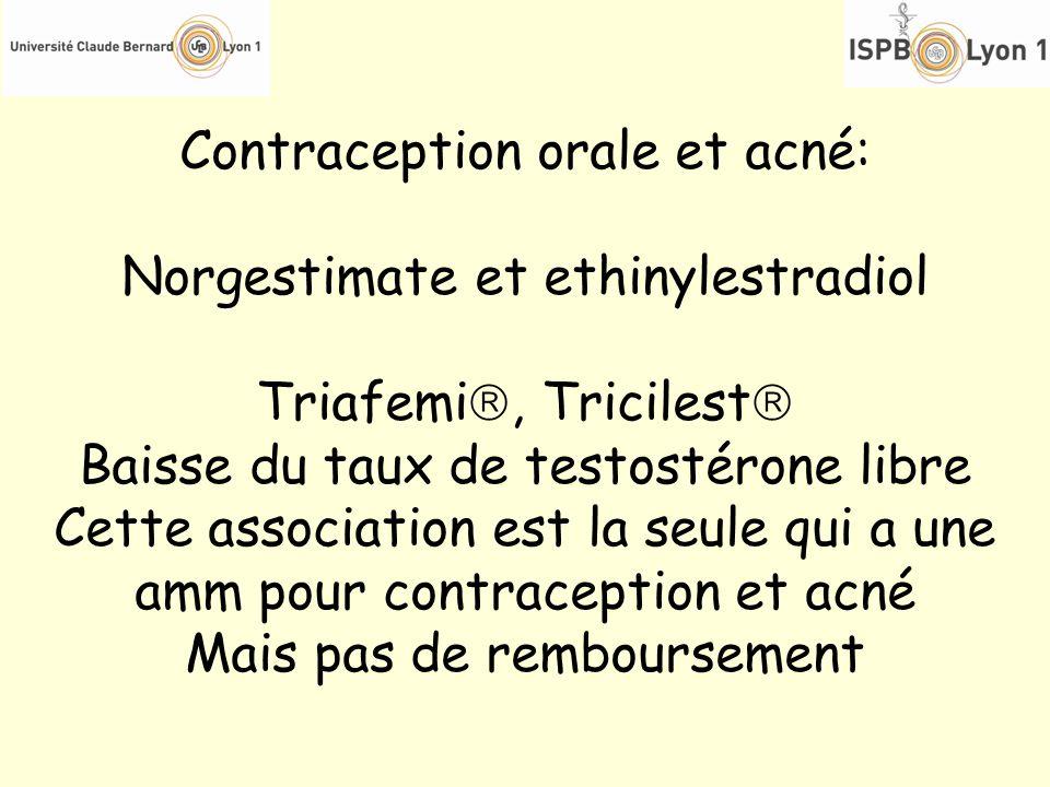 Contraception orale et acné: Norgestimate et ethinylestradiol Triafemi, Tricilest Baisse du taux de testostérone libre Cette association est la seule