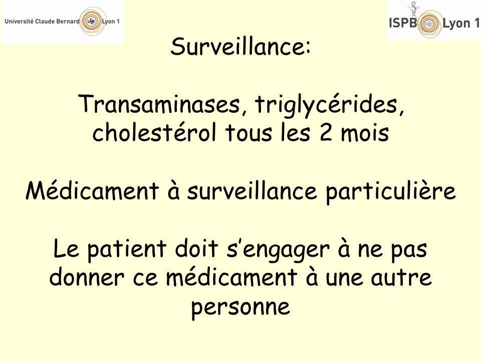 Surveillance: Transaminases, triglycérides, cholestérol tous les 2 mois Médicament à surveillance particulière Le patient doit sengager à ne pas donne