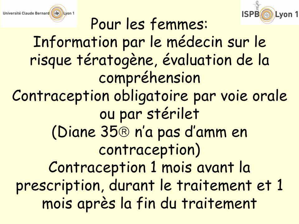 Pour les femmes: Information par le médecin sur le risque tératogène, évaluation de la compréhension Contraception obligatoire par voie orale ou par s