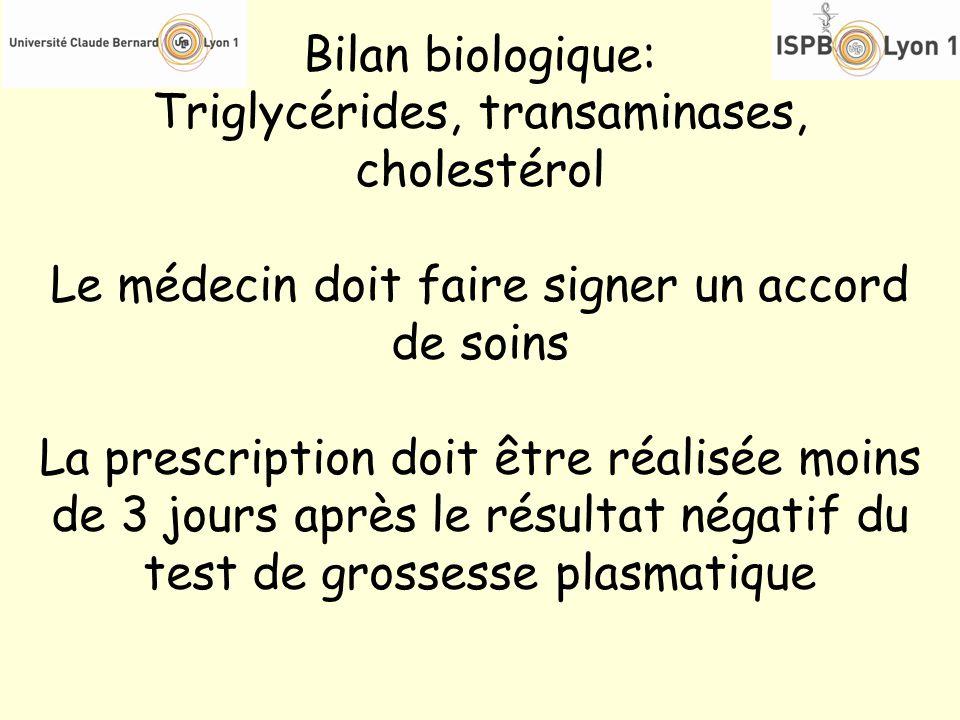 Bilan biologique: Triglycérides, transaminases, cholestérol Le médecin doit faire signer un accord de soins La prescription doit être réalisée moins d