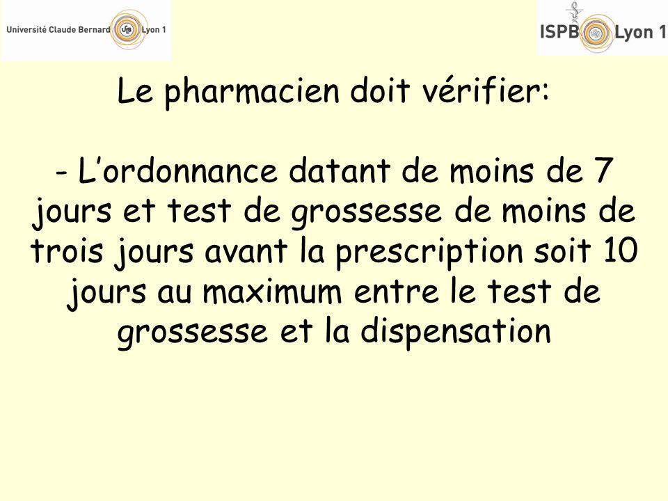 Le pharmacien doit vérifier: - Lordonnance datant de moins de 7 jours et test de grossesse de moins de trois jours avant la prescription soit 10 jours