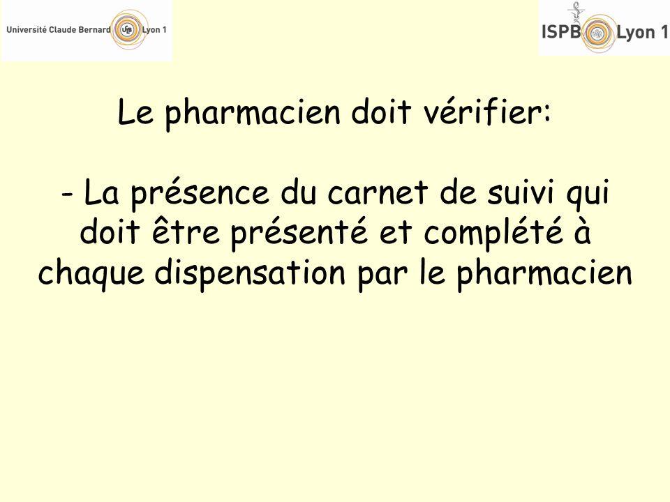 Le pharmacien doit vérifier: - La présence du carnet de suivi qui doit être présenté et complété à chaque dispensation par le pharmacien