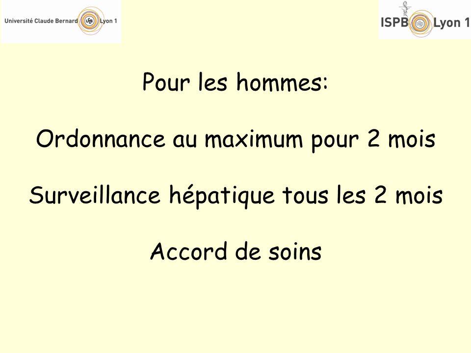 Pour les hommes: Ordonnance au maximum pour 2 mois Surveillance hépatique tous les 2 mois Accord de soins