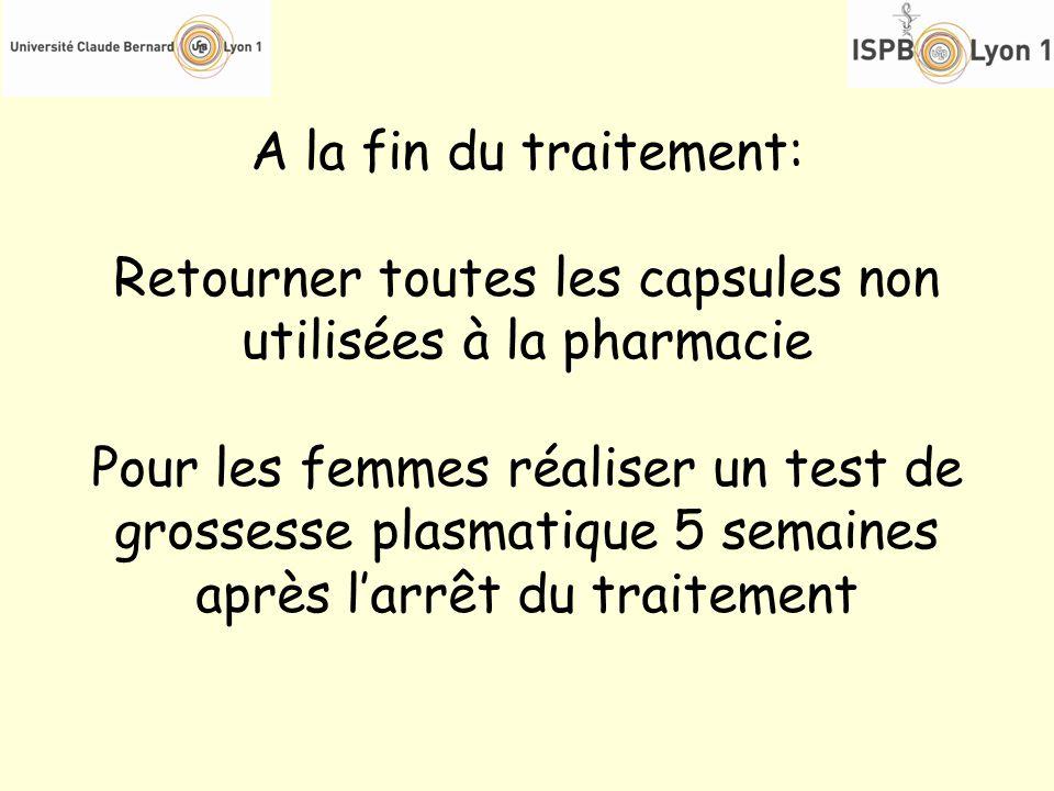 A la fin du traitement: Retourner toutes les capsules non utilisées à la pharmacie Pour les femmes réaliser un test de grossesse plasmatique 5 semaine