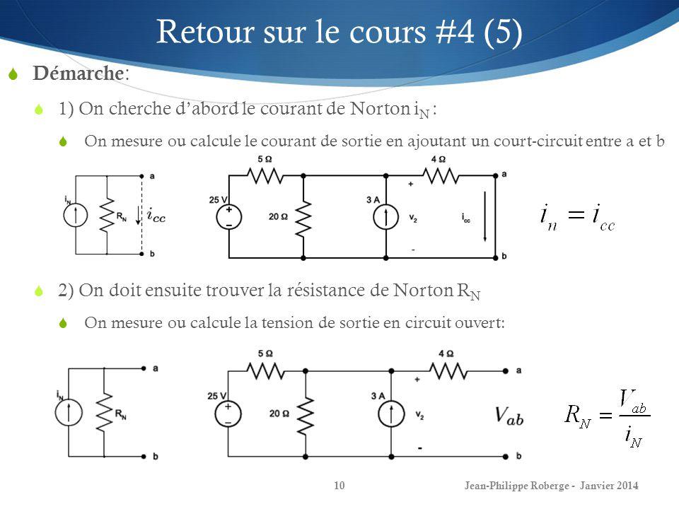 Jean-Philippe Roberge - Janvier 201410 Retour sur le cours #4 (5) Démarche : 1) On cherche dabord le courant de Norton i N : On mesure ou calcule le courant de sortie en ajoutant un court-circuit entre a et b 2) On doit ensuite trouver la résistance de Norton R N On mesure ou calcule la tension de sortie en circuit ouvert: