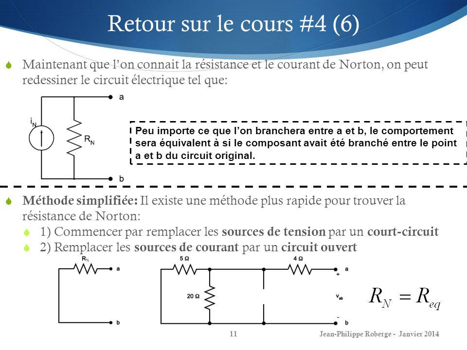 N Jean-Philippe Roberge - Janvier 201411 Retour sur le cours #4 (6) Maintenant que lon connait la résistance et le courant de Norton, on peut redessiner le circuit électrique tel que: Peu importe ce que lon branchera entre a et b, le comportement sera équivalent à si le composant avait été branché entre le point a et b du circuit original.