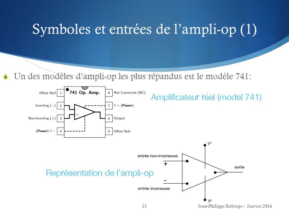 Symboles et entrées de lampli-op (1) Jean-Philippe Roberge - Janvier 201421 Un des modèles dampli-op les plus répandus est le modèle 741: + -