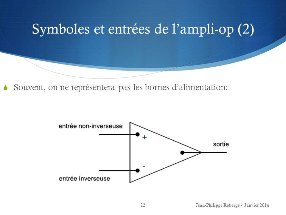 Symboles et entrées de lampli-op (2) Jean-Philippe Roberge - Janvier 201422 Souvent, on ne représentera pas les bornes dalimentation: