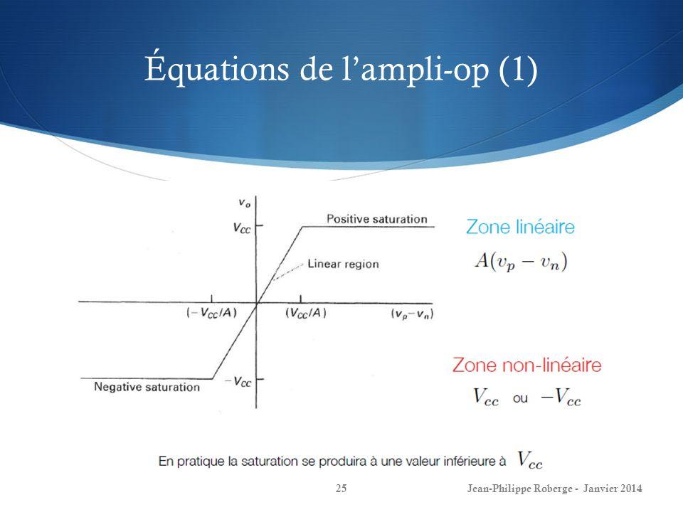 Équations de lampli-op (1) Jean-Philippe Roberge - Janvier 201425