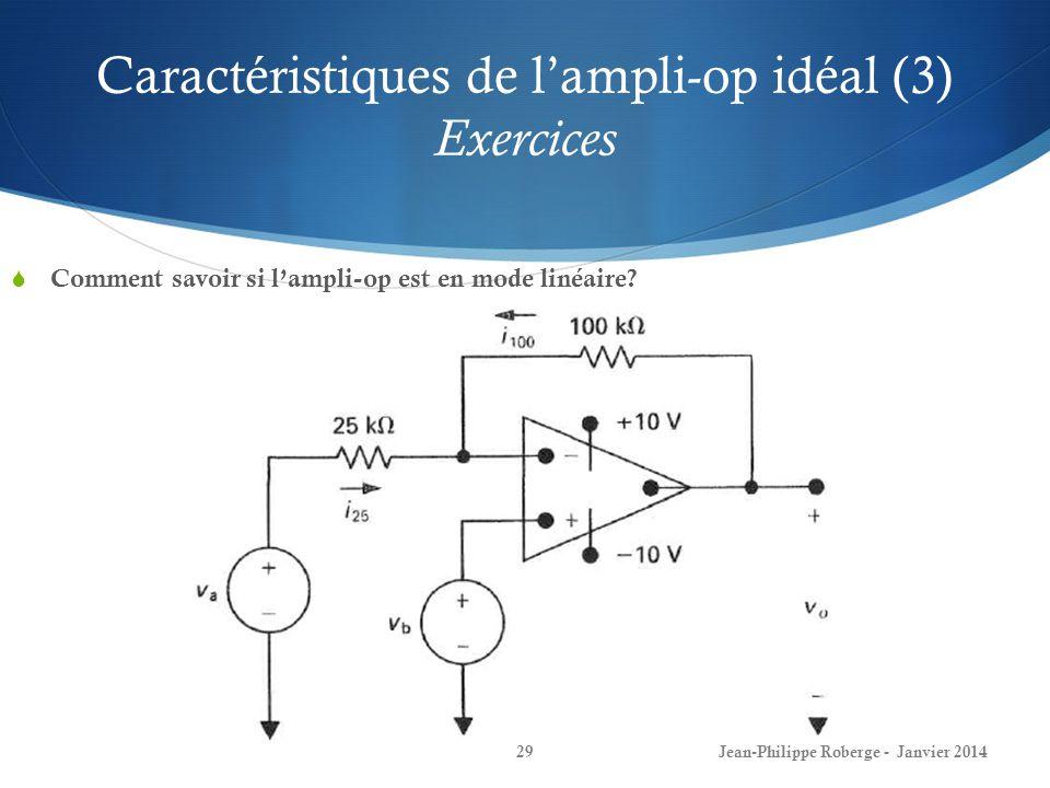 Caractéristiques de lampli-op idéal (3) Exercices Comment savoir si lampli-op est en mode linéaire.