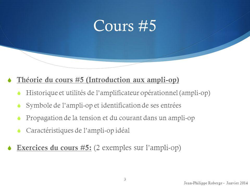 Cours #5 Théorie du cours #5 (Introduction aux ampli-op) Historique et utilités de lamplificateur opérationnel (ampli-op) Symbole de lampli-op et identification de ses entrées Propagation de la tension et du courant dans un ampli-op Caractéristiques de lampli-op idéal Exercices du cours #5: (2 exemples sur lampli-op) 3 Jean-Philippe Roberge - Janvier 2014