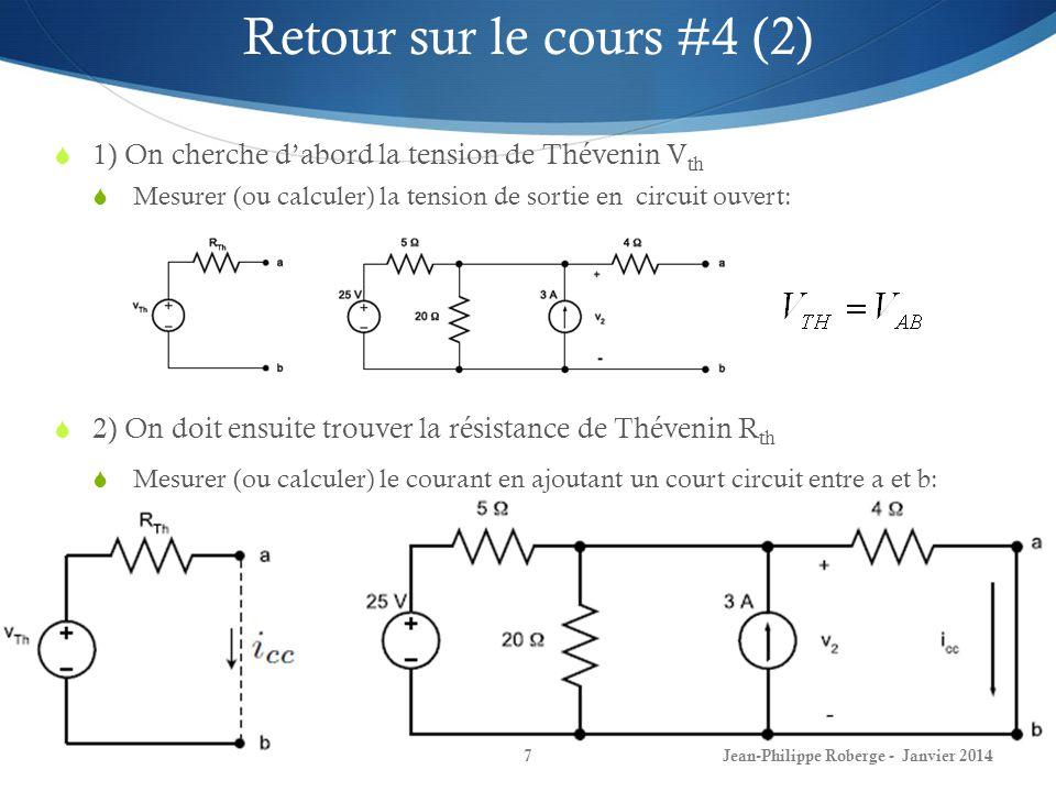 Jean-Philippe Roberge - Janvier 20147 Retour sur le cours #4 (2) 1) On cherche dabord la tension de Thévenin V th Mesurer (ou calculer) la tension de sortie en circuit ouvert: 2) On doit ensuite trouver la résistance de Thévenin R th Mesurer (ou calculer) le courant en ajoutant un court circuit entre a et b:
