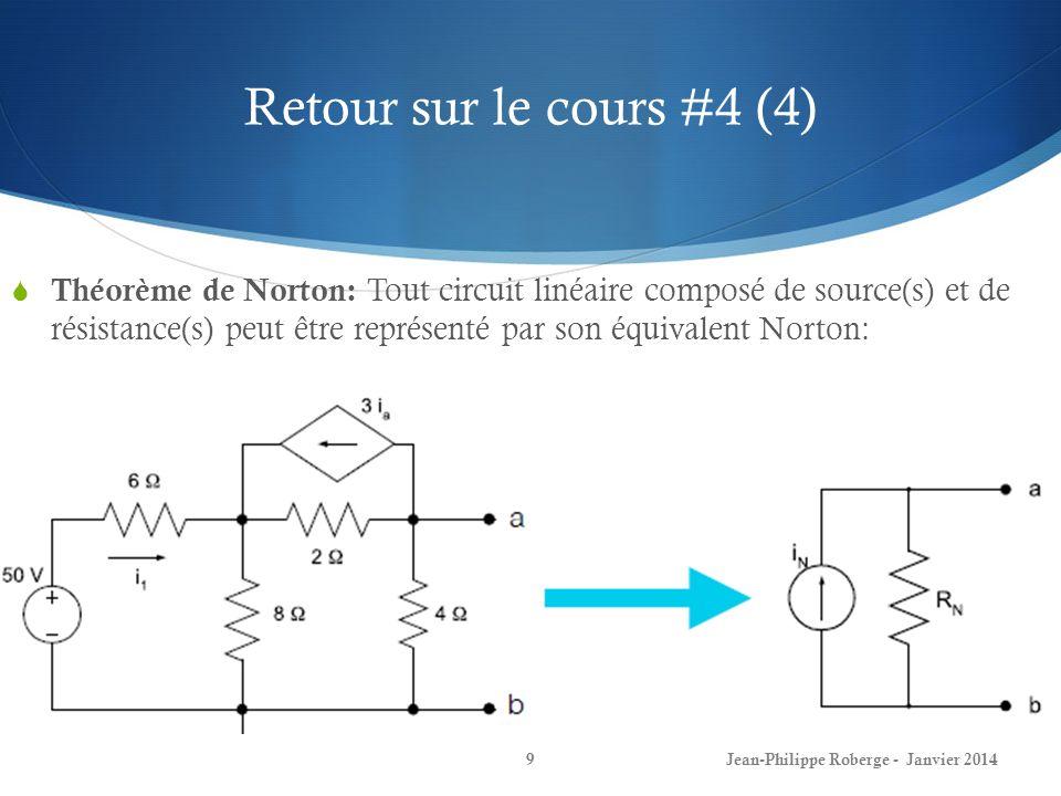 Retour sur le cours #4 (4) Jean-Philippe Roberge - Janvier 20149 Théorème de Norton: Tout circuit linéaire composé de source(s) et de résistance(s) peut être représenté par son équivalent Norton: