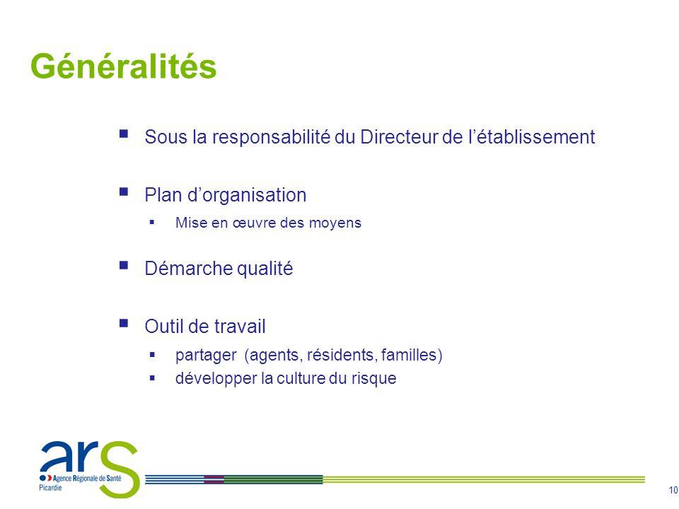 10 Généralités Sous la responsabilité du Directeur de létablissement Plan dorganisation Mise en œuvre des moyens Démarche qualité Outil de travail par