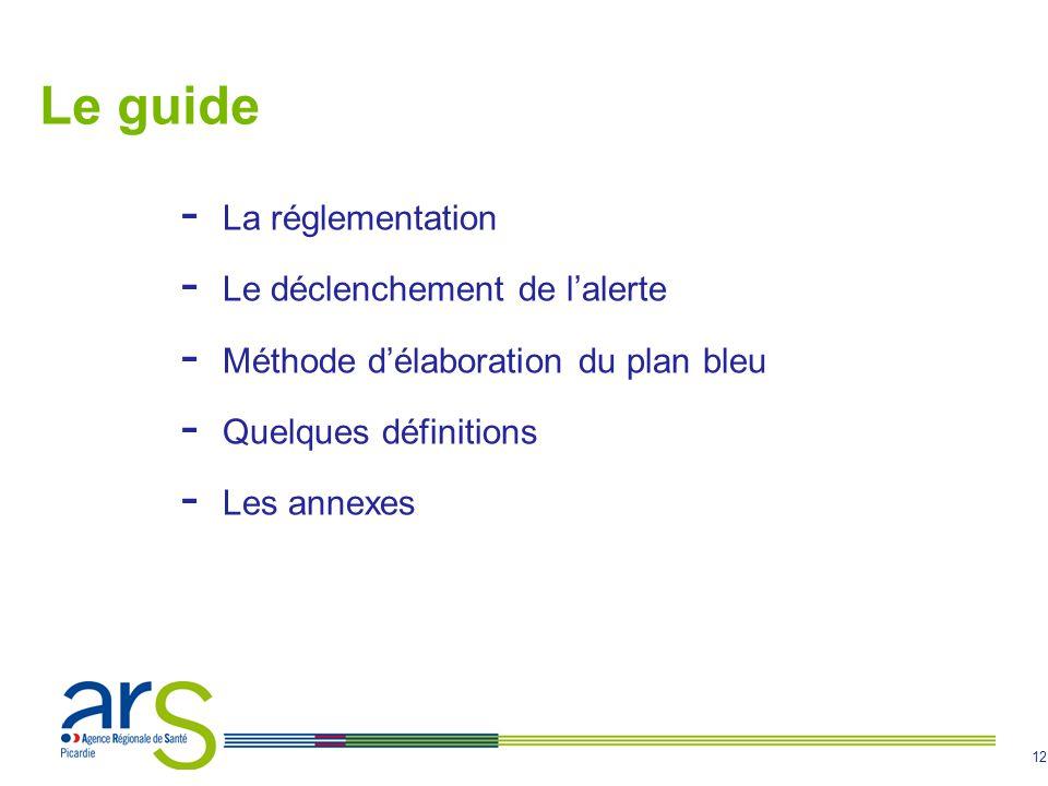 12 Le guide - La réglementation - Le déclenchement de lalerte - Méthode délaboration du plan bleu - Quelques définitions - Les annexes