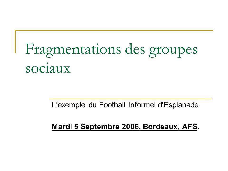Fragmentations des groupes sociaux Lexemple du Football Informel dEsplanade Mardi 5 Septembre 2006, Bordeaux, AFS.