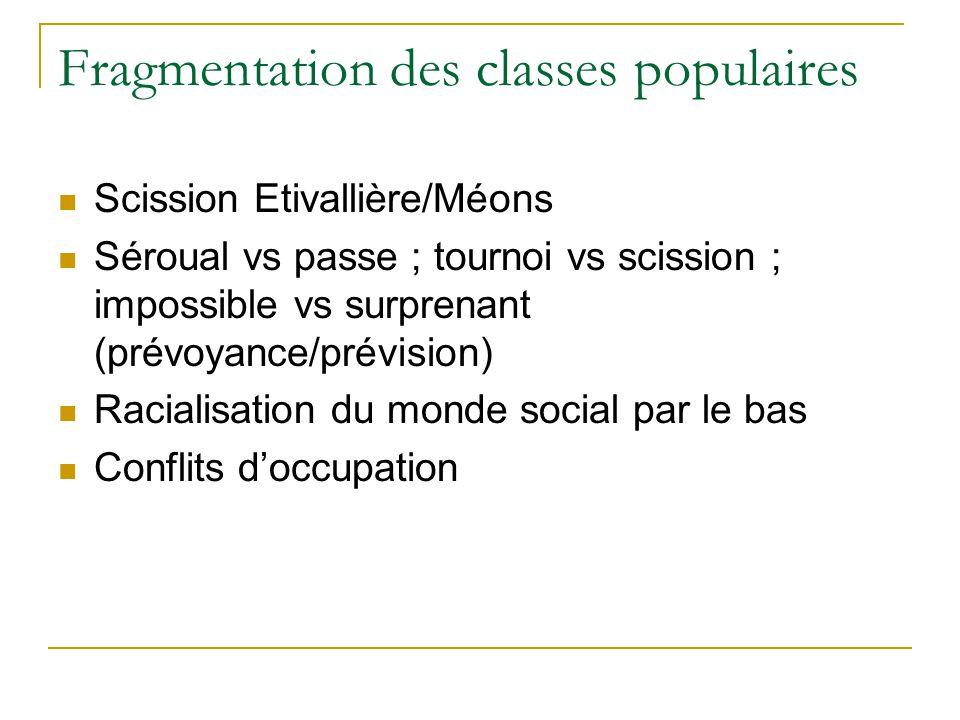 Conclusion Fragmentations des classes sociales : groupes sociaux.