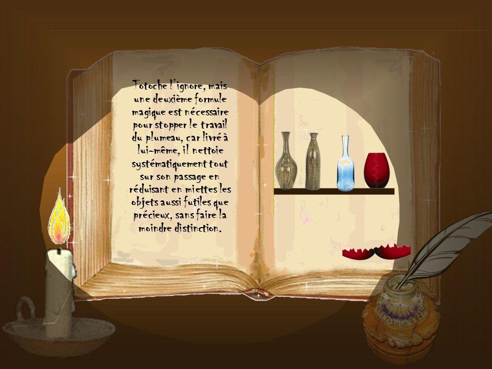 Totoche lignore, mais une deuxième formule magique est nécessaire pour stopper le travail du plumeau, car livré à lui-même, il nettoie systématiquement tout sur son passage en réduisant en miettes les objets aussi futiles que précieux, sans faire la moindre distinction.