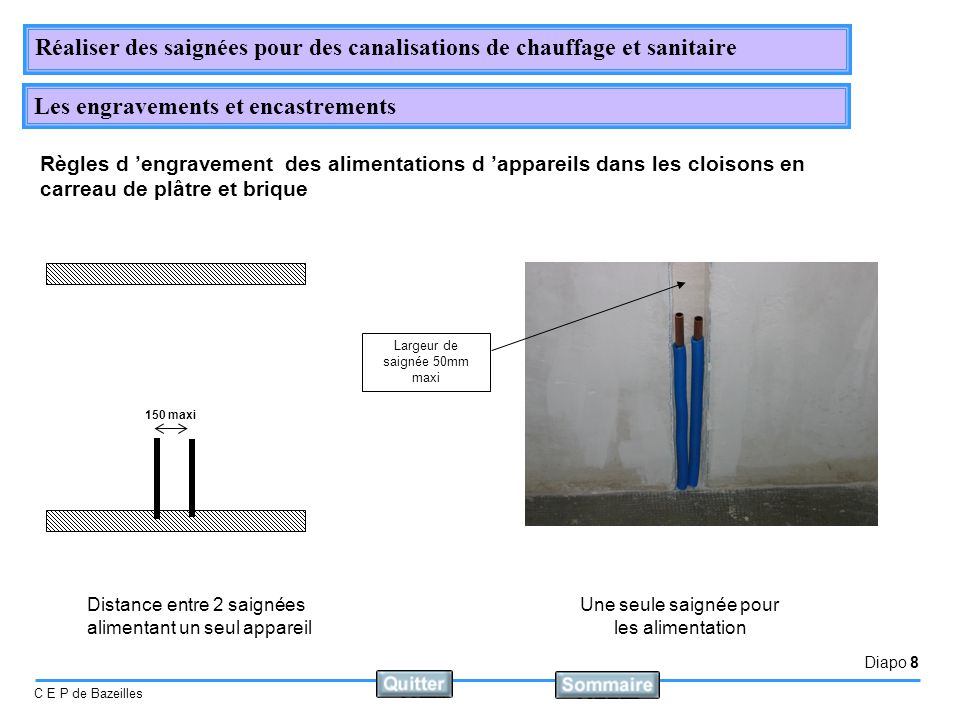 Diapo 8 C E P de Bazeilles Réaliser des saignées pour des canalisations de chauffage et sanitaire Les engravements et encastrements 150 maxi Distance