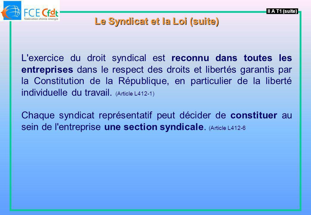 L'exercice du droit syndical est reconnu dans toutes les entreprises dans le respect des droits et libertés garantis par la Constitution de la Républi
