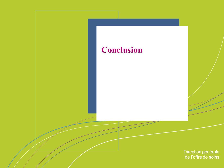 Direction générale de loffre de soin ORGANISATION & MISSIONS Direction générale de loffre de soins Conclusion