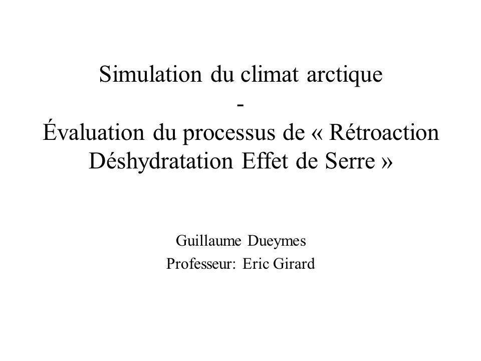 Simulation du climat arctique - Évaluation du processus de « Rétroaction Déshydratation Effet de Serre » Guillaume Dueymes Professeur: Eric Girard