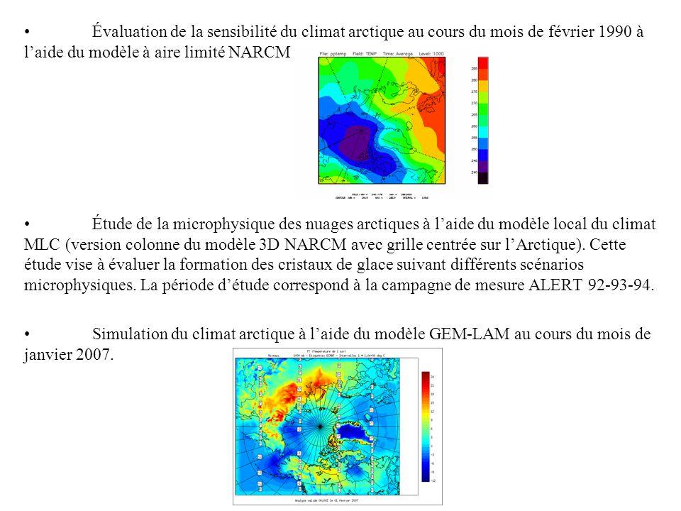 Évaluation de la sensibilité du climat arctique au cours du mois de février 1990 à laide du modèle à aire limité NARCM Étude de la microphysique des nuages arctiques à laide du modèle local du climat MLC (version colonne du modèle 3D NARCM avec grille centrée sur lArctique).