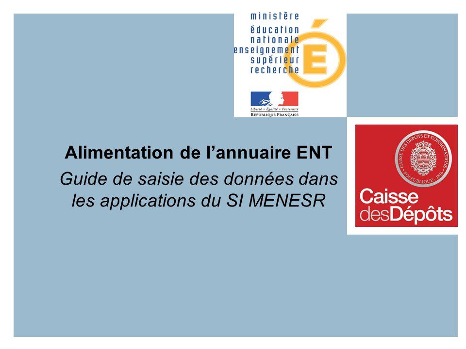 Alimentation de lannuaire ENT Guide de saisie des données dans les applications du SI MENESR