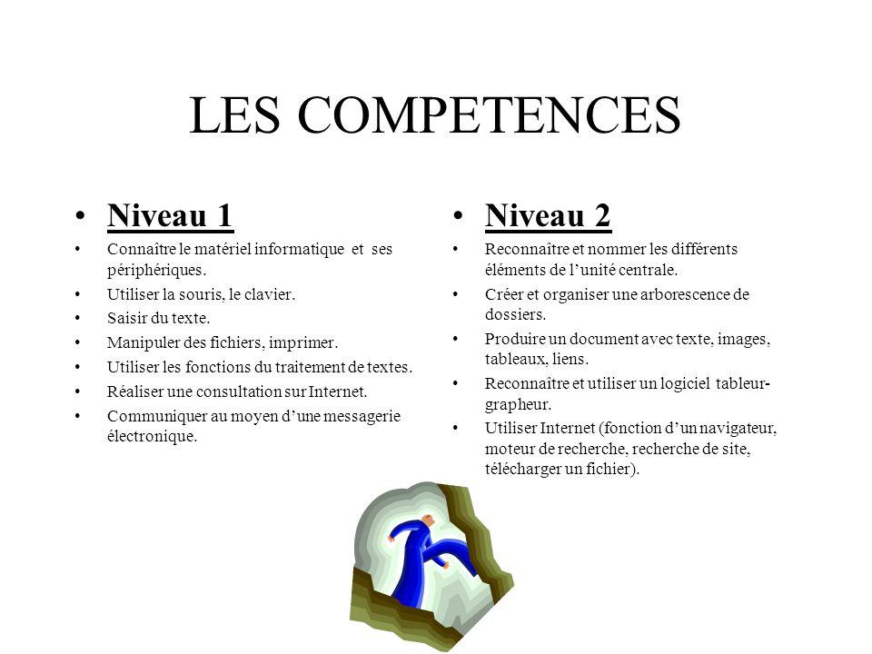 LES COMPETENCES Niveau 1 Connaître le matériel informatique et ses périphériques.