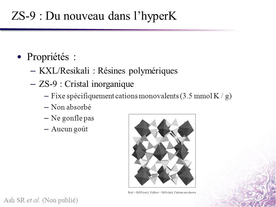 ZS-9 : Du nouveau dans lhyperK Propriétés : – KXL/Resikali : Résines polymériques – ZS-9 : Cristal inorganique – Fixe spécifiquement cations monovalen