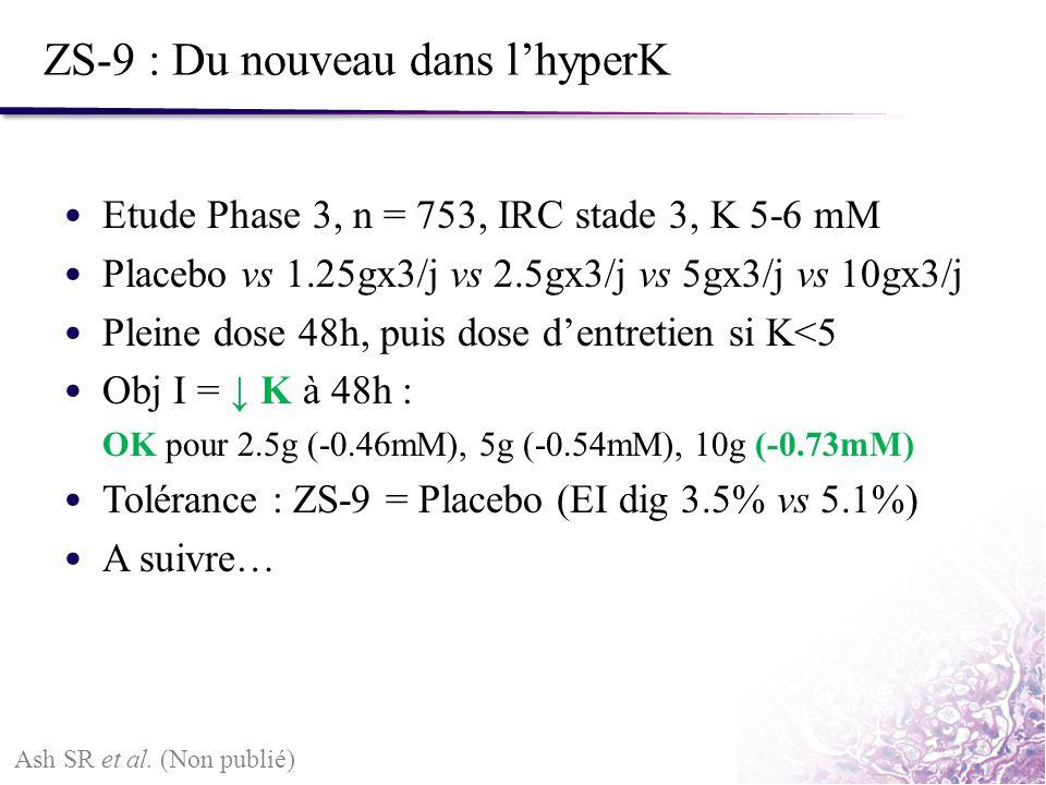 ZS-9 : Du nouveau dans lhyperK Etude Phase 3, n = 753, IRC stade 3, K 5-6 mM Placebo vs 1.25gx3/j vs 2.5gx3/j vs 5gx3/j vs 10gx3/j Pleine dose 48h, pu