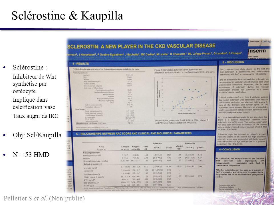 Sclérostine & Kaupilla Pelletier S et al. (Non publié) Sclérostine : Inhibiteur de Wnt synthétisé par ostéocyte Impliqué dans calcification vasc Taux