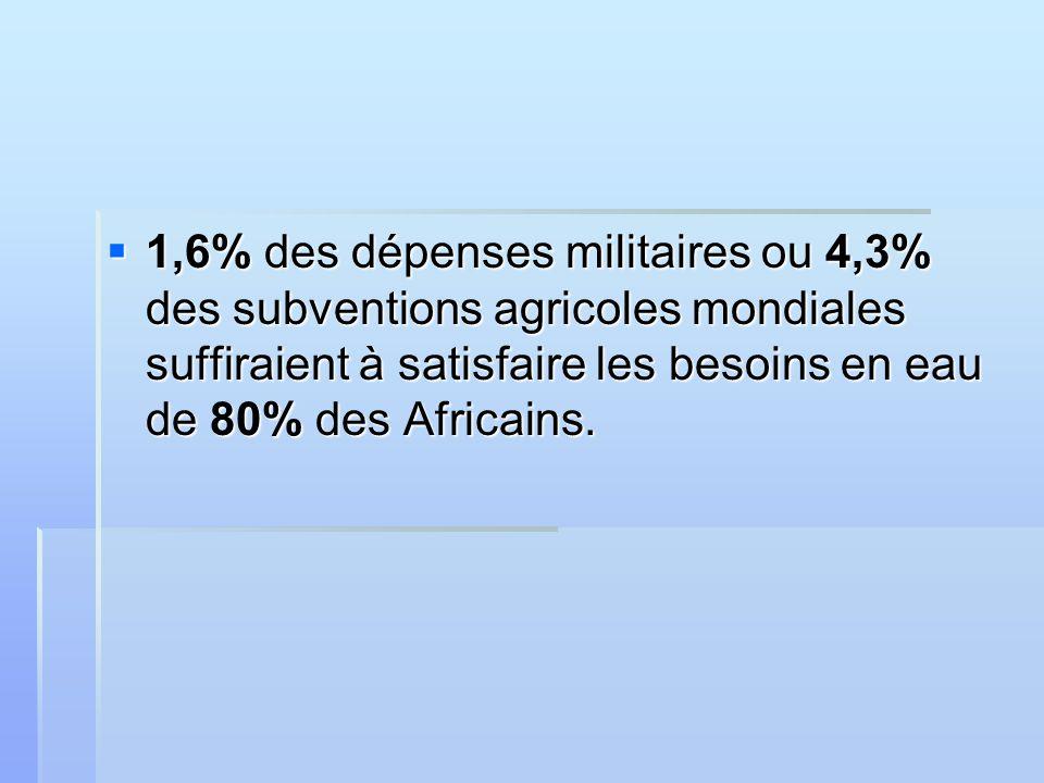 1,6% des dépenses militaires ou 4,3% des subventions agricoles mondiales suffiraient à satisfaire les besoins en eau de 80% des Africains.