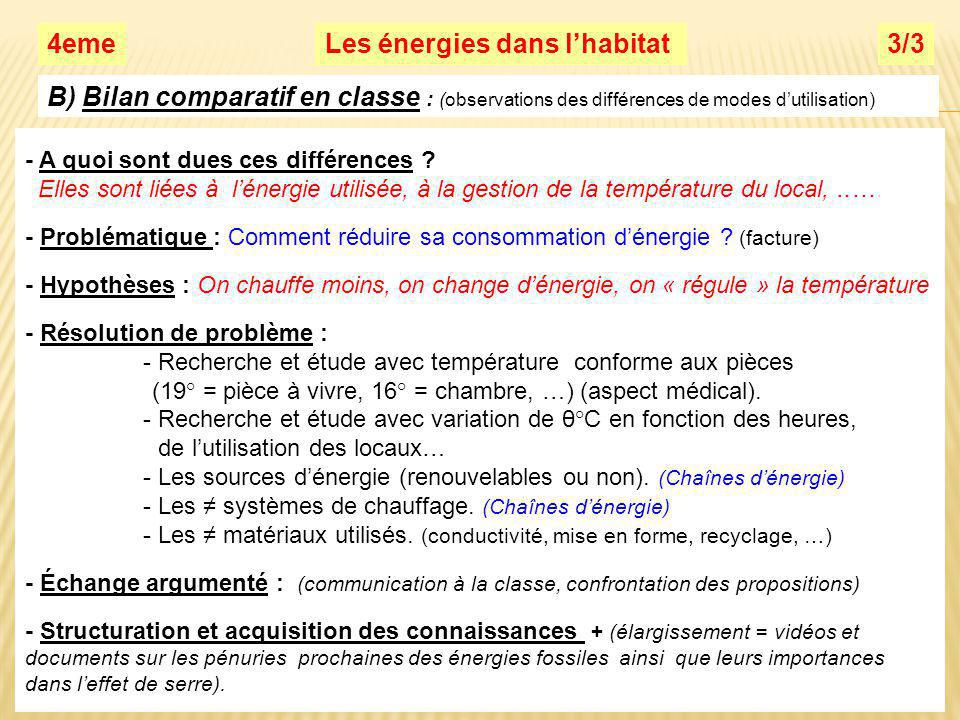 Les énergies dans lhabitat3/34eme B) Bilan comparatif en classe : (observations des différences de modes dutilisation) - A quoi sont dues ces différences .