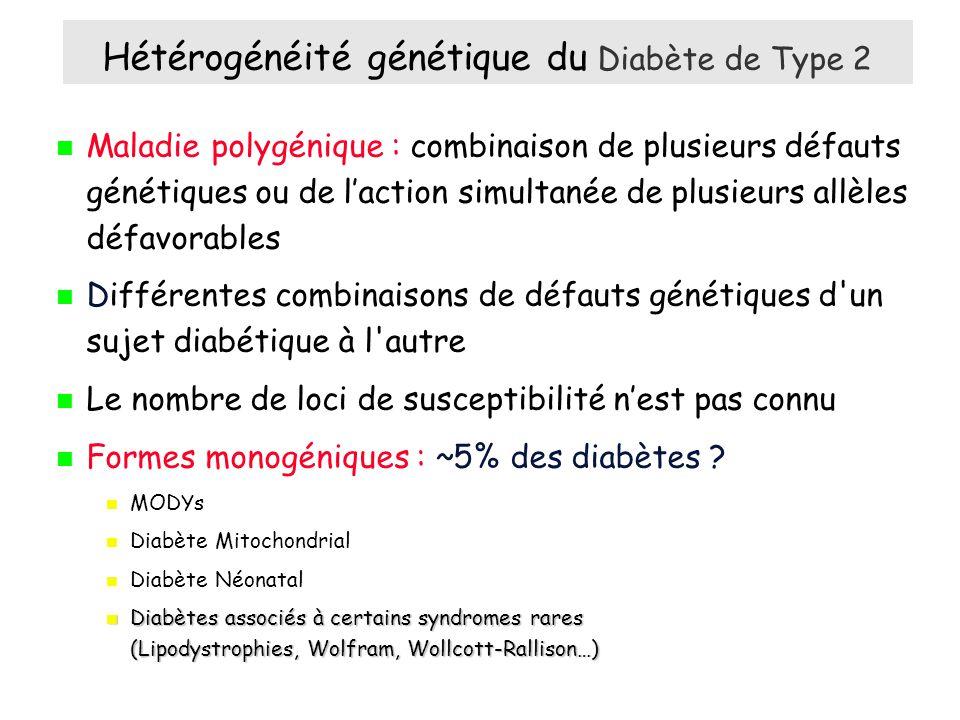 Maladie polygénique : combinaison de plusieurs défauts génétiques ou de laction simultanée de plusieurs allèles défavorables Différentes combinaisons de défauts génétiques d un sujet diabétique à l autre Le nombre de loci de susceptibilité nest pas connu Formes monogéniques : ~5% des diabètes .