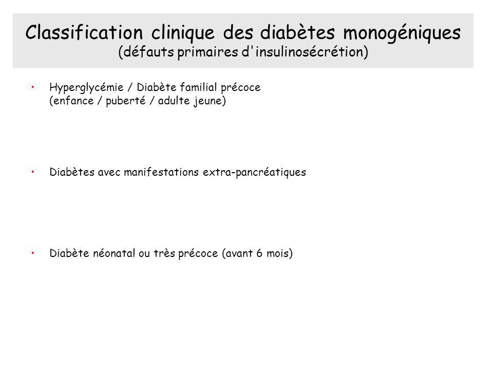 Classification clinique des diabètes monogéniques (défauts primaires d insulinosécrétion) Hyperglycémie / Diabète familial précoce (enfance / puberté / adulte jeune) Diabètes avec manifestations extra-pancréatiques Diabète néonatal ou très précoce (avant 6 mois)