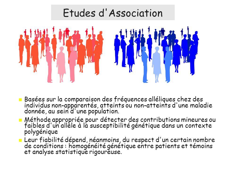 Basées sur la comparaison des fréquences alléliques chez des individus non-apparentés, atteints ou non-atteints d une maladie donnée, au sein d une population.