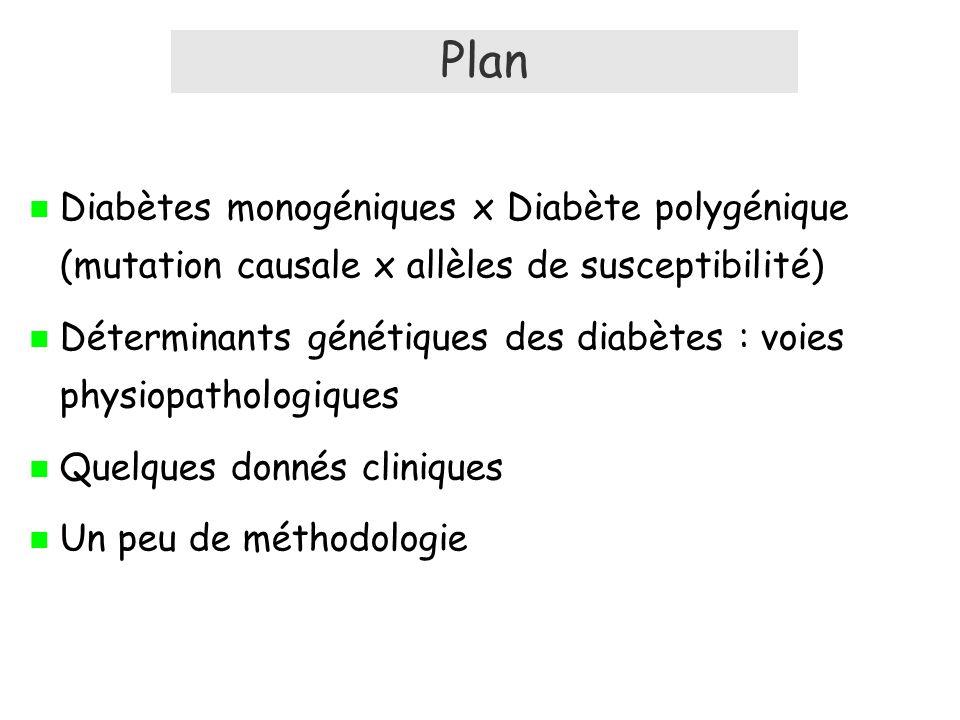 Plan Diabètes monogéniques x Diabète polygénique (mutation causale x allèles de susceptibilité) Déterminants génétiques des diabètes : voies physiopathologiques Quelques donnés cliniques Un peu de méthodologie