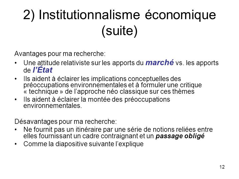 12 2) Institutionnalisme économique (suite) Avantages pour ma recherche: Une attitude relativiste sur les apports du marché vs. les apports de lÉtat I