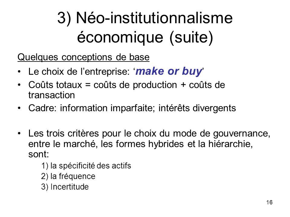16 3) Néo-institutionnalisme économique (suite) Quelques conceptions de base Le choix de lentreprise: make or buy Coûts totaux = coûts de production +