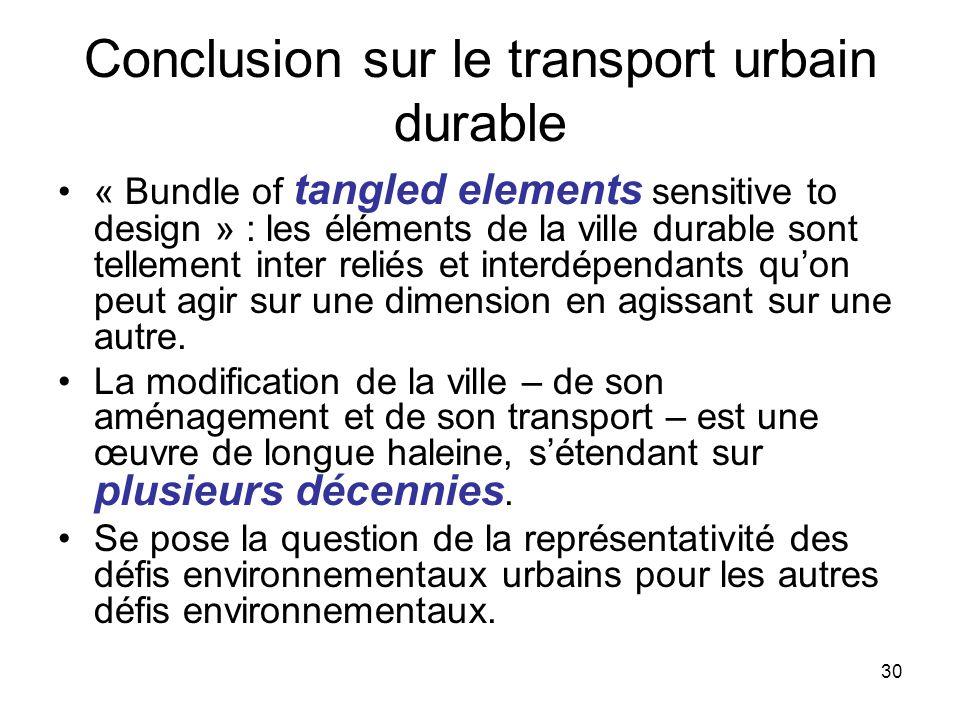 30 Conclusion sur le transport urbain durable « Bundle of tangled elements sensitive to design » : les éléments de la ville durable sont tellement int