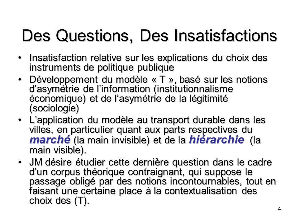 4 Des Questions, Des Insatisfactions Insatisfaction relative sur les explications du choix des instruments de politique publiqueInsatisfaction relativ