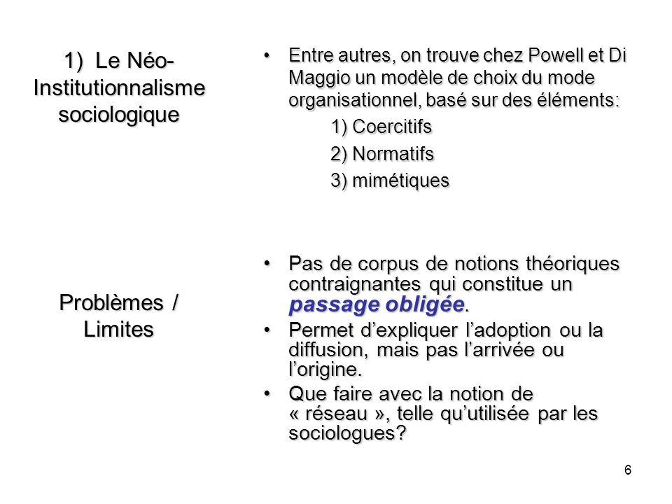 6 1) Le Néo- Institutionnalisme sociologique Problèmes / Limites Entre autres, on trouve chez Powell et Di Maggio un modèle de choix du mode organisat