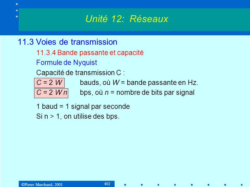 ©Pierre Marchand, 2001 402 11.3 Voies de transmission 11.3.4 Bande passante et capacité Formule de Nyquist Capacité de transmission C : C = 2 Wbauds, où W = bande passante en Hz.