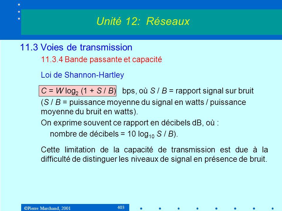 ©Pierre Marchand, 2001 403 11.3 Voies de transmission 11.3.4 Bande passante et capacité Loi de Shannon-Hartley C = W log 2 (1 + S / B) bps, où S / B = rapport signal sur bruit (S / B = puissance moyenne du signal en watts / puissance moyenne du bruit en watts).