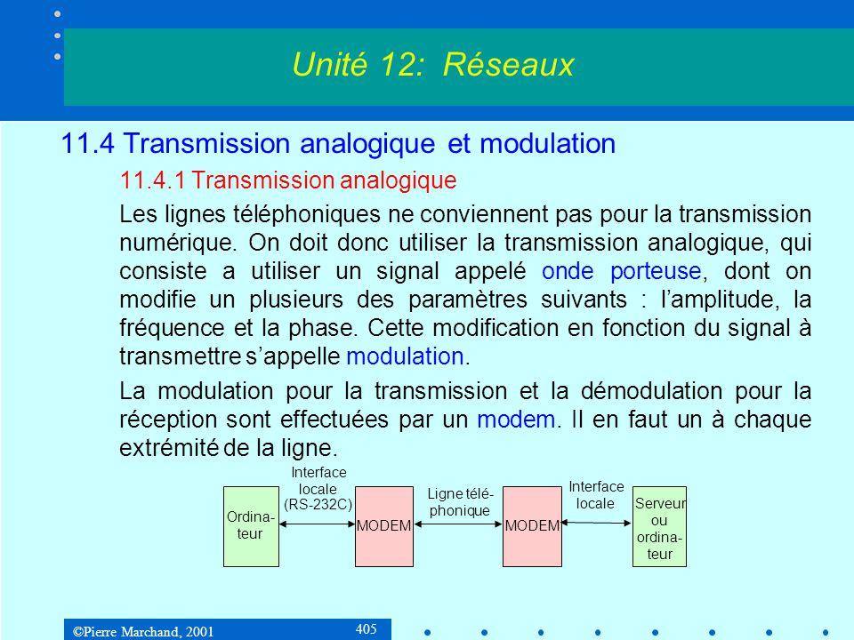 ©Pierre Marchand, 2001 405 11.4 Transmission analogique et modulation 11.4.1 Transmission analogique Les lignes téléphoniques ne conviennent pas pour la transmission numérique.