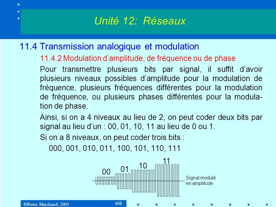 ©Pierre Marchand, 2001 408 11.4 Transmission analogique et modulation 11.4.2 Modulation damplitude, de fréquence ou de phase Pour transmettre plusieurs bits par signal, il suffit davoir plusieurs niveaux possibles damplitude pour la modulation de fréquence, plusieurs fréquences différentes pour la modulation de fréquence, ou plusieurs phases différentes pour la modula- tion de phase.