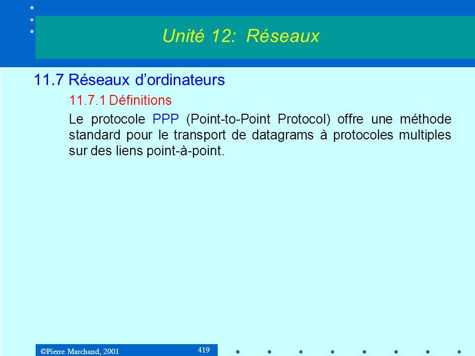 ©Pierre Marchand, 2001 419 11.7 Réseaux dordinateurs 11.7.1 Définitions Le protocole PPP (Point-to-Point Protocol) offre une méthode standard pour le transport de datagrams à protocoles multiples sur des liens point-à-point.