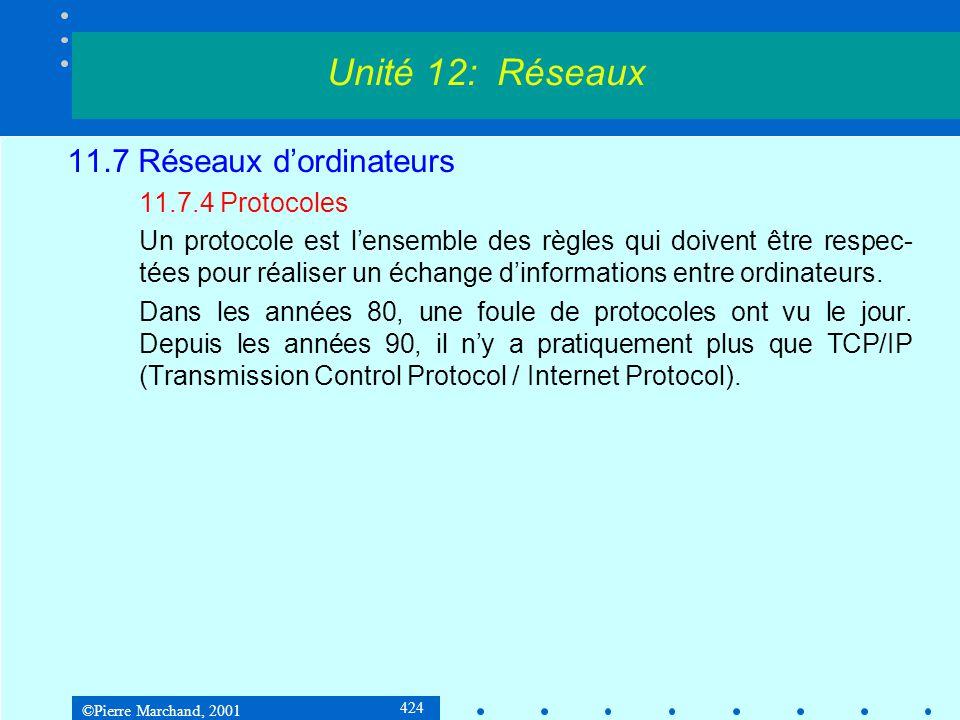 ©Pierre Marchand, 2001 424 11.7 Réseaux dordinateurs 11.7.4 Protocoles Un protocole est lensemble des règles qui doivent être respec- tées pour réaliser un échange dinformations entre ordinateurs.