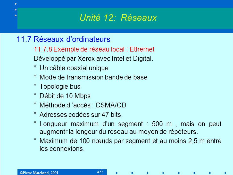 ©Pierre Marchand, 2001 427 11.7 Réseaux dordinateurs 11.7.8 Exemple de réseau local : Ethernet Développé par Xerox avec Intel et Digital.